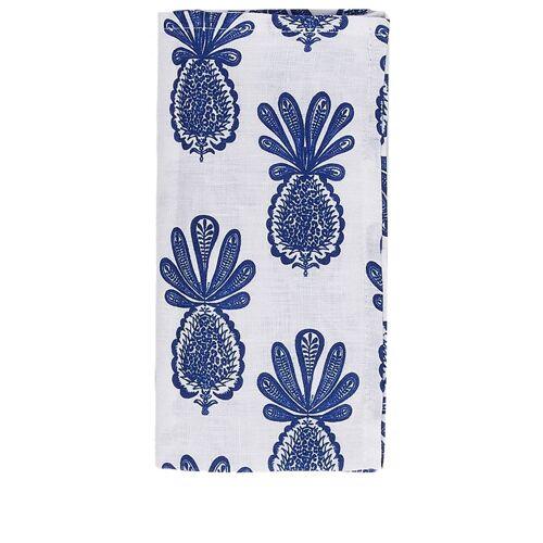 La Doublej 6er-Set Leinenservietten mit Ananas-Print - Weiß Female regular