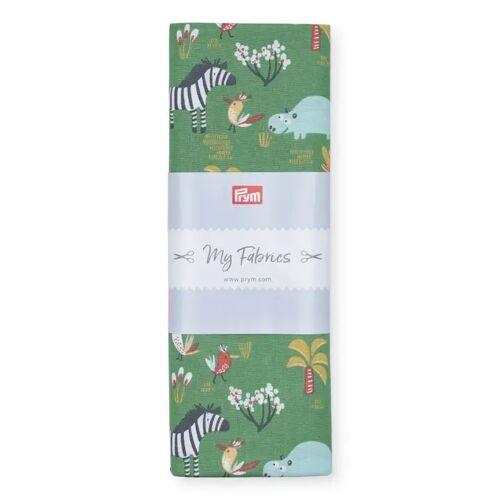 PRYM Baumwollstoff Hippo & Co ZOO, grün/multi, Stoffe, Baumwollstoffe, 1mx1,5m grün
