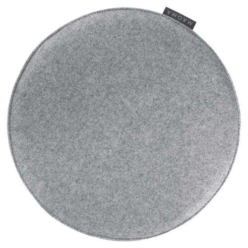 Magma Baumwoll-Mischung Sitzkissen Uni Rund Avaro Grau 35 cm