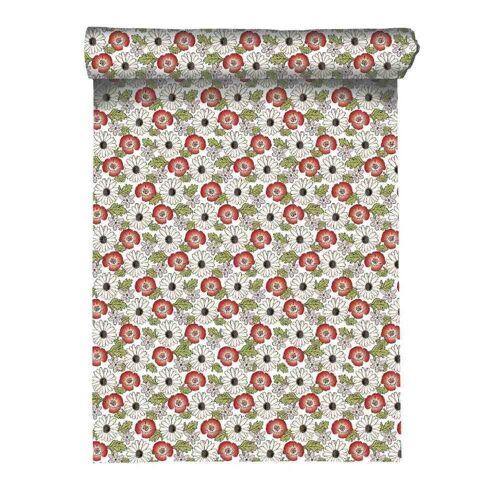 Linum Baumwolle Tischläufer Blumen Mucha Grün 45x150 cm