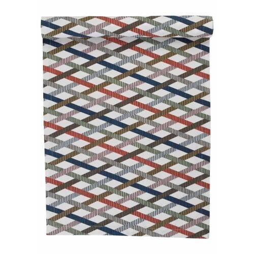 Linum Baumwolle Mikado Tischläufer Streifen Grau 45x150 cm