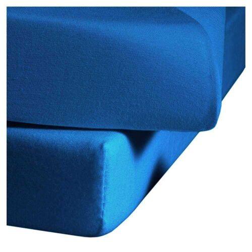 fleuresse Mako-Satin Spannbettlaken Bettlaken Colours 200x200 cm Meeresblau