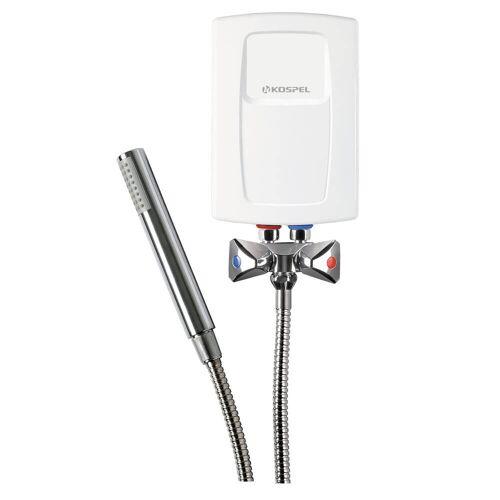 Kospel Durchlauferhitzer 5,5 kW mit Niederdruckarmatur und Duschset Durchlauferhitzer B: 13,5 H: 19,5 cm weiß EPS2-5,5.P.DE