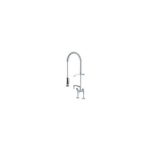 KWC Gastro Zweigriff-Spültisch-Brückenbatterie mit Geschirrwaschbrause und Schwenkauslauf für die Profiküche Gastro H: 110 Ausladung: 30 cm chrom