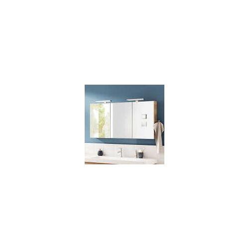 Lanzet Spiegelschrank 100 x 14,5 x 68 cm mit 2 Leuchten L2 und 3 Türen   verspiegelt 7735412