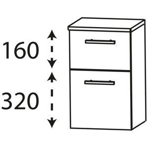 Puris Linea Unterschrank 40 x 30 x 49,6 cm mit 1 Schubkasten, 1 Auszug, Griff 320   hacienda schwarz UNA344A01F755K155559050320