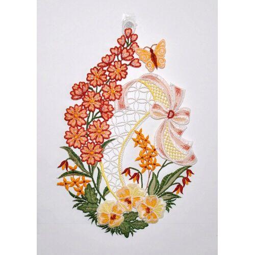 Stickereien Plauen Fensterbild »Blumenwiese«, Hakenaufhängung