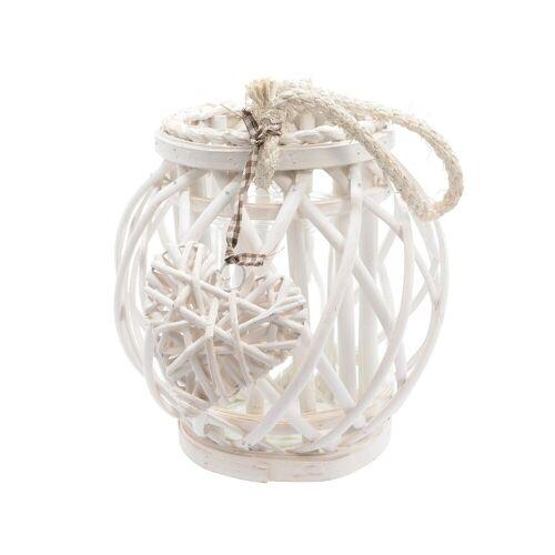 Decoris season decorations Windlicht, Windlicht Glas mit Henkel Weide 22cm weiß, 1 Stück