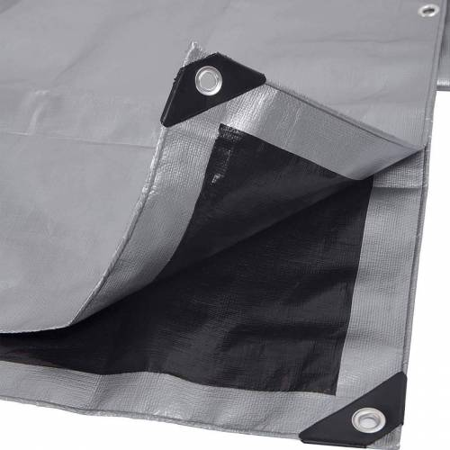 Woltu Pool-Abdeckplane, 280g/m² PE Gewebeplane mit Ösen,wasserdicht grau