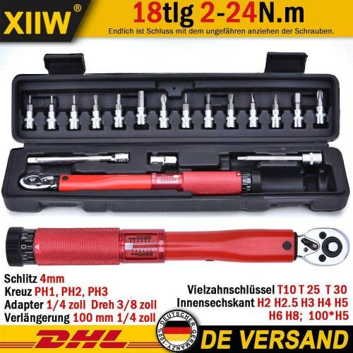 "XIIW Drehmomentschlüssel »18x 1/4 ""DR 2-24 Nm Ratsche Drehmomentschlüssel Fahrrad Drehmoment Werkzeug Set«"