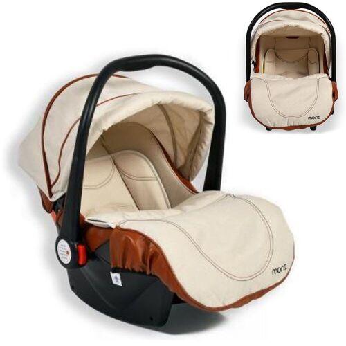 Moni Babyschale »Kindersitz, Babyschale Alma Gruppe 0+«, 3.15 kg, (0 - 13 kg) Adapter, Fußabdeckung Dach, beige
