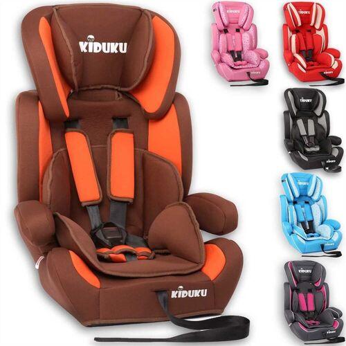 KIDUKU Autokindersitz, Kindersitz 9-36 kg (1-12 Jahre) - Autositz ECE R44/04, Gruppe 1/2/3 Autokindersitz Kinderautositz, Braun