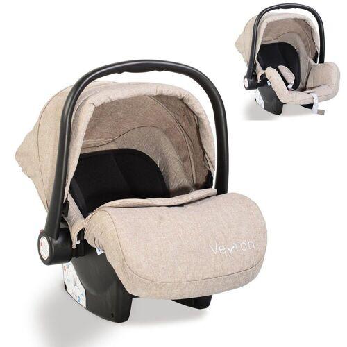 Moni Babyschale »Kindersitz, Babyschale Veyron Gruppe 0+«, 3.1 kg, (0 -13 kg) Sonnendach, Adapter, beige grau