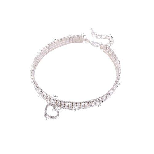 TOPMELON Tier-Halsband, Legierung, Hundehalsband, Kristallkragen & Glänzender Heller Kristalldiamant, Weiß