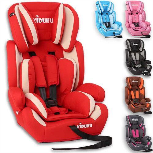 KIDUKU Autokindersitz, Kindersitz 9-36 kg (1-12 Jahre) - Autositz ECE R44/04, Gruppe 1/2/3 Autokindersitz Kinderautositz, Rot
