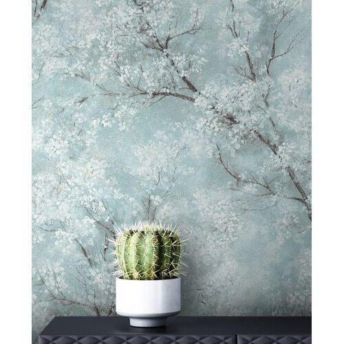 living walls Vliestapete »Bene Muster 1«, Blau Tapete Leicht Glänzend Floral - Blumentapete Mustertapete Türkis Weiß Baum Modern für Schlafzimmer Wohnzimmer Küche