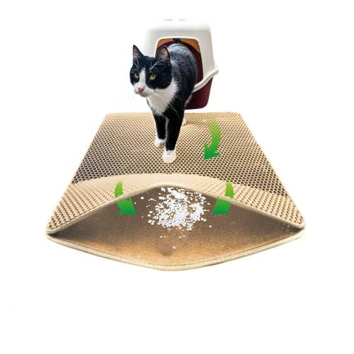 riijk Katzentoilette »Katzen Streumatte«, Katzenklomatte 75x58cm XXL Matte Katzentoilette, perfekte Katzenstreumatte für die saubere Wohnung, Katzenmatte Katzenklo beige, Beige