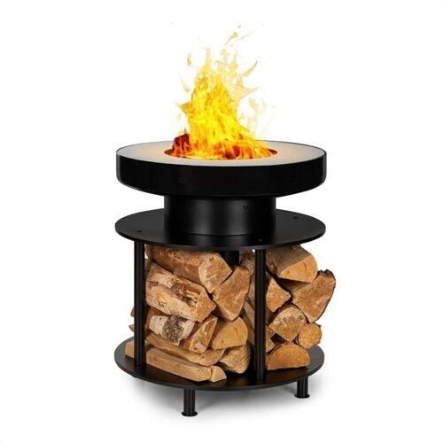 blumfeldt Feuerschale »Wood Stock 2-in-1-Feuerschale BBQ-Grill Ø56cm Edelstahl schwarz«, Romantik pur: Feuerschale für Wärme und Atmosphäre im Garten und auf der Terrasse