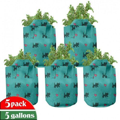 Abakuhaus Pflanzkübel »hochleistungsfähig Stofftöpfe mit Griffen für Pflanzen«, Teal Kätzchen rosa Herzen