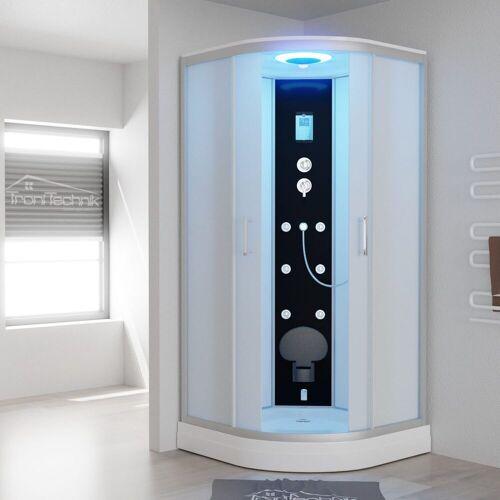 TroniTechnik Eckdusche »EASY Dampfdusche«, BxT: 90x90 cm, ESG, inkl. Dampfgenerator bis 60°C, 6 Massagedüsen, klappbarer Sitz