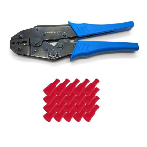 ARLI Crimpzange »Handcrimpzange 0,5 - 6 mm² - Crimpzange Presszangen Zange + 50 x Flachsteckhülsen 0,5 - 1,5 mm² rot 6,3 x 0,8 mm«