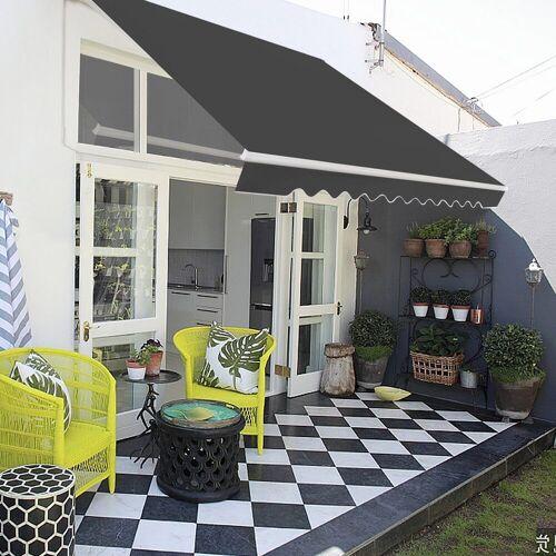 COSTWAY Markise »Balkonmarkise, Sonnenmarkise, Terrassenmarkise« mit kurbel, Sonnenschutz, 3 x 2,5 m, Grau