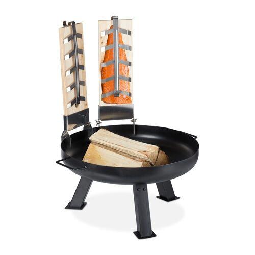relaxdays Feuerschale »2 Flammlachsbretter mit Feuerschale«
