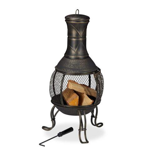 relaxdays Feuerschale »Aztekenofen für Garten gold«
