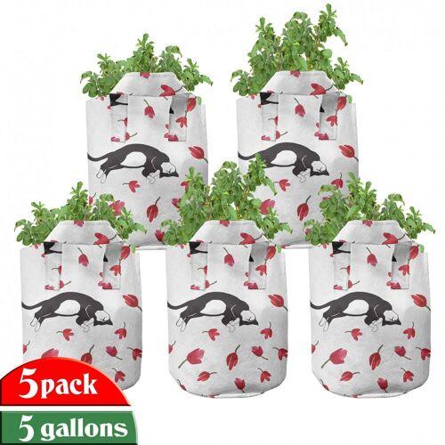 Abakuhaus Pflanzkübel »hochleistungsfähig Stofftöpfe mit Griffen für Pflanzen«, Kätzchen Cat Sleeping Tulpen
