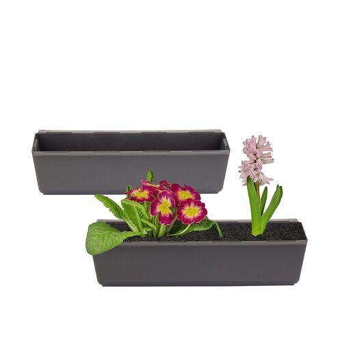 BigDean Blumenkasten »1x Pflanzkasten inkl. Aufhänger für Europalette − Blumenkübel anthrazit − 37 x 13,5 x 9,5 cm«