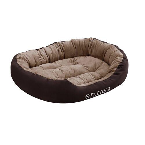 en.casa Tierbett, PP-Baumwolle, Oxfordgewebe 600D, »Svelvik« Hundebett mit Wendekissen in verschiedenen Farben und Größen, braun