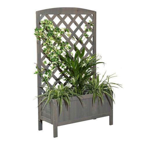 Mucola Blumenkasten »Blumenkasten Holz Rankkasten Rankgitter Rankhilfe Blumenständer Blumenkübel Rankgestell«, Grau