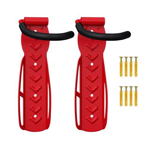 Wellgro Fahrradhalter »2 x Wand Fahrradhalter - Stahl Fahrrad Wandhalterung - Fahrrad haken - Fahrradständer - Ständer - Wandfahrradhalter«, Rot