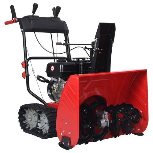 vidaXL Akku-Schneefräse »Zweistufige Schneefräse Rot Schwarz Kunststoff 196 cm³ 6,5 PS«