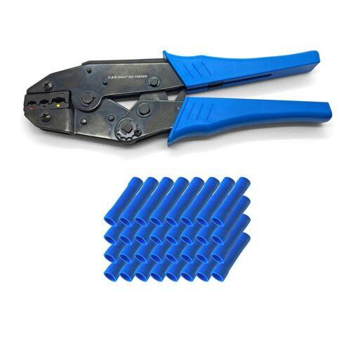 ARLI Crimpzange »Handcrimpzange 0,5 - 6 mm² - Crimpzange Presszangen Zange + 50 x Stossverbinder blau 1,5 - 2,5 mm²«