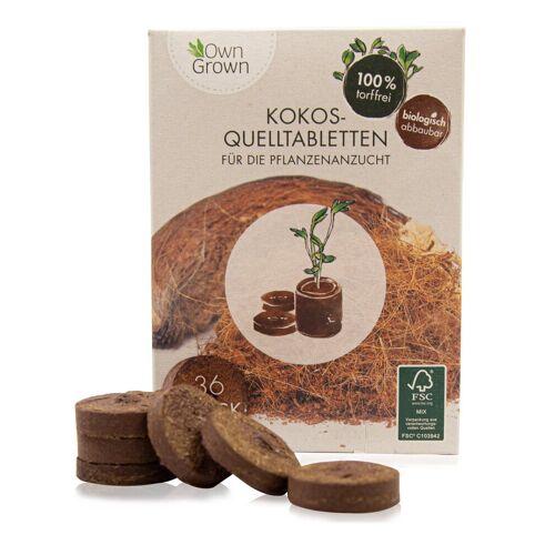 OwnGrown Anzucht- und Kräutererde »Premium Kokos Quelltabletten - 36 Stück - mit Nährstoffen für die Pflanzenaufzucht - 100 % torffrei und biologisch abbaubar«, (36-St)
