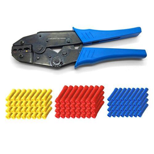 ARLI Crimpzange »Handcrimpzange 0,5 - 6 mm² - Crimpzange Presszangen Zange + 100 x Stossverbinder (40x rot 50x blau 10x gelb)«