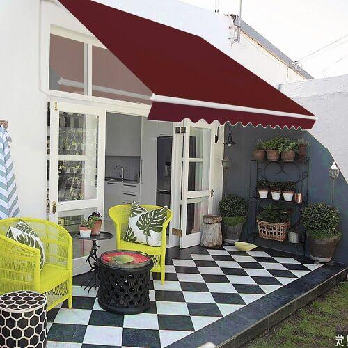 COSTWAY Markise »Balkonmarkise, Sonnenmarkise, Terrassenmarkise« mit kurbel, Sonnenschutz, 2,5 x 2 m, Weinrot