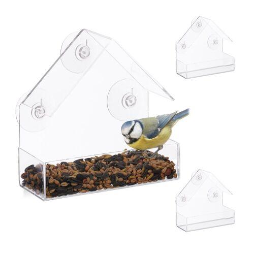 relaxdays Vogelhaus »3 x Fenster-Vogelfutterhaus«