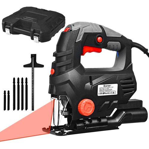 COSTWAY Stichsäge »Eletrische Stichsäge Kurvensäge«, 800W / 3000U/min / 45°Abschrägungswinkel / 6 Sägeblätter / 5 Geschwindigkeiten