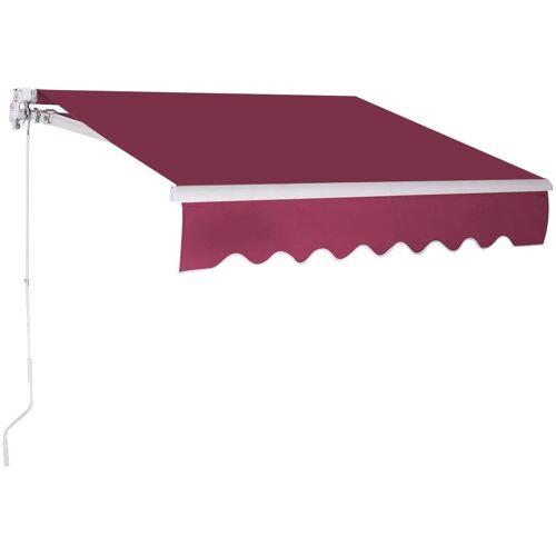 COSTWAY Markise »Sonnenmarkise, Terrassenmarkise, Klemmmarkise« 3 x 2,5 m, mit Kurbel, für Balkon und Veranda, Weinrot