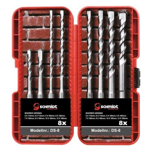 SCHMIDT security tools Bohrersatz »SDS-Plus Bohrer-Set 8-teilig Ø 5-6-7-8-10-12mm SDS-Schaft Hammerbohrer Steinbohrer Betonbohrer SDS+«