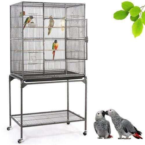 Yaheetech Vogelkäfig, Vogelvoliere mit Tür Vogelhaus Vogelbauer mit 4 Rollen 47 x 81 x 160 cm