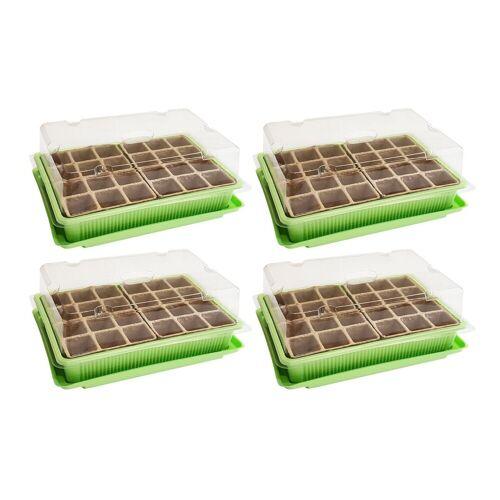 Wellgro Gewächshaus »4x Mini Gewächshaus - für bis zu 96 Pflanzen, ca. 27 x 19 x 10 cm (LxBxH) je Zimmergewächshaus - Anzuchtschale - Zellulose - Saatschale - Pflanzen Anzucht«