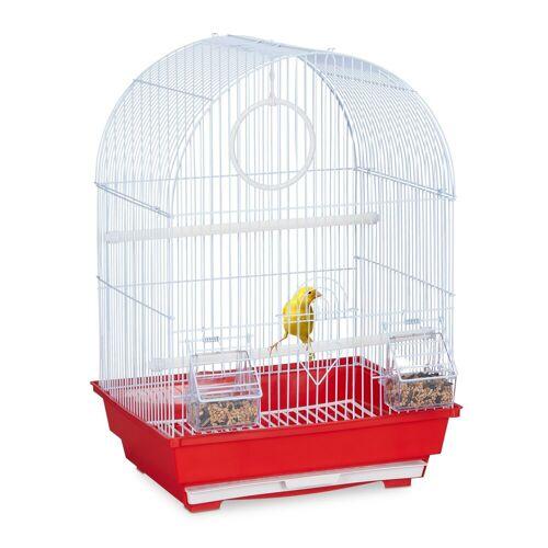 relaxdays Vogelkäfig »Vogelkäfig mit Zubehör rot«