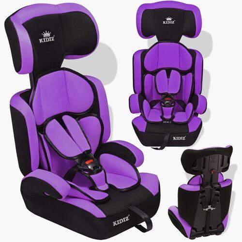KIDIZ Autokindersitz, Autositz 9-36 kg Gruppe 1+2+3 Kinderautositz Stabil und Sicher Sitzschale Kindersitz, lila