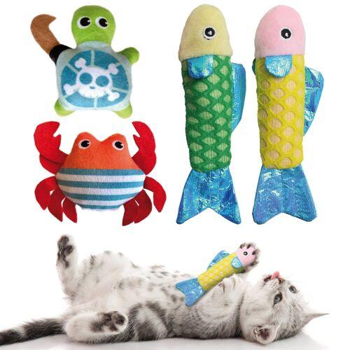 KaraLuna Tier-Beschäftigungsspielzeug »Katzenspielzeug Set mit Katzenminze, 4-teilig«, Plüschtiere mit Katzenminze, Katzenminze Spielzeug