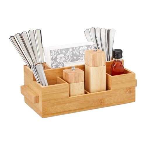 relaxdays Besteckhalter »Besteckhalter Bambus mit Serviettenfach«