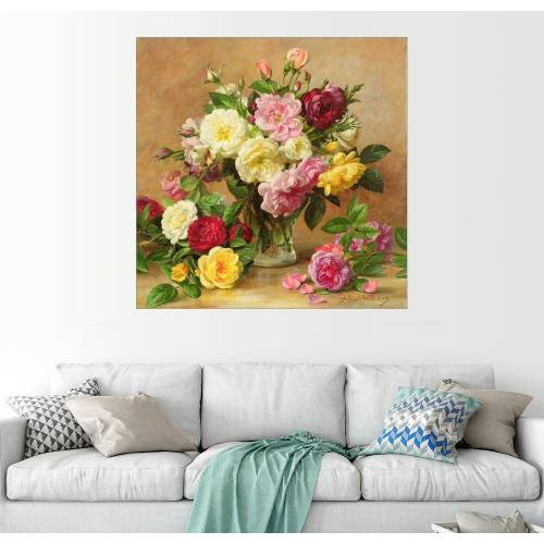 Posterlounge Wandbild, Altmodische viktorianische Rosen