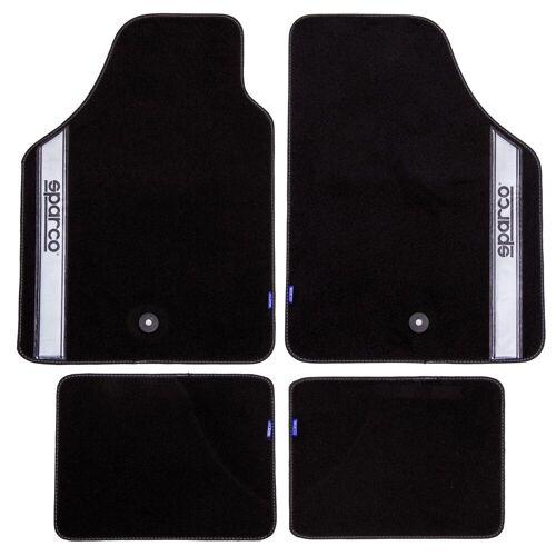 dynamic24 Fußmatte, , Sparco Automattenset 4tlg. Fußmatten Teppich Matten Set Gummimatten Autoteppich, schwarz/silber